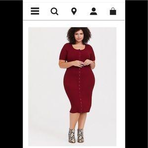 Torrid ribbed burgundy bodycon dress size 3